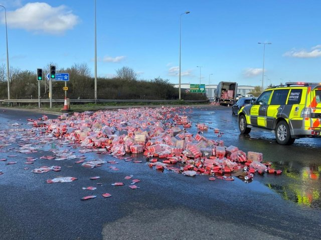 Looks like a monster clean up is needed at the Grange Park roundabout.