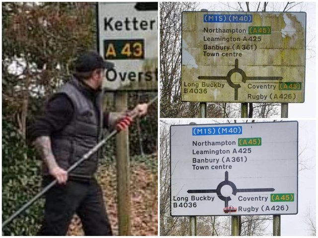 A window cleaner is taking it upon himself to clean up his community's dirty road signs for free.