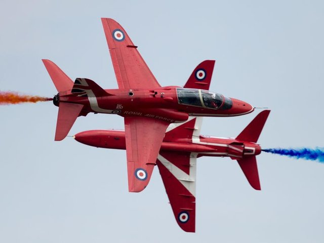 The RAF Red Arrows are famous for their acrobatic displays. Photo Getty Images