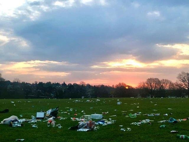 Litter left in Abington Park after a warm day yesterday (March 30). Photo: Katie Perry.
