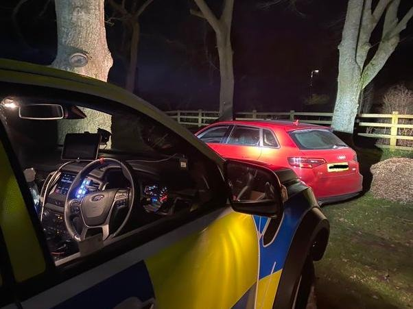 Police came across this car-load parked up in the countryside near Naseby on Saturday night. Photo: @hutch472