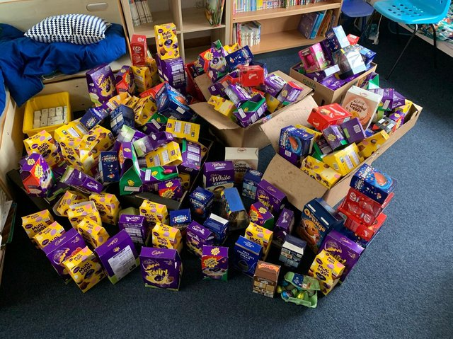 The school collected around 300 Easter eggs for the donation.