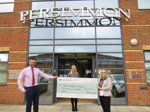 From left, Persimmon Homes regional divisional director (Central) Simon McDonald and sales director Claire Dearsley with Tessa Taylor from the KidsAid Foundation