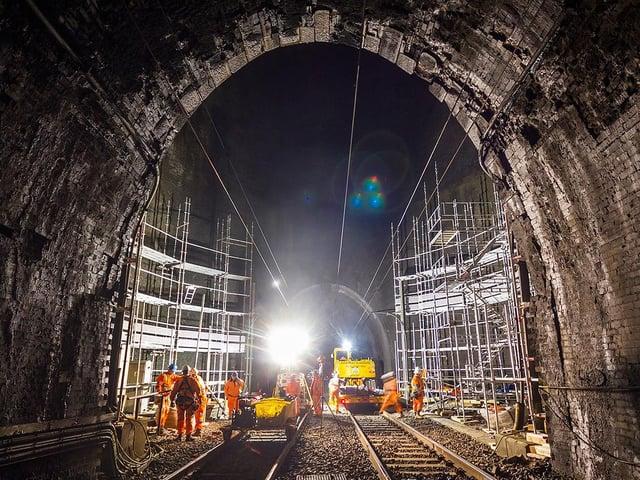 Work under way at the historic Kilsby railway tunnel.  Photo: Network Rail / G Bickerdike