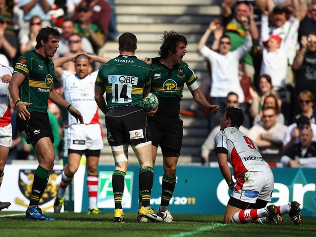 Lee Dickson roared for delight after scoring for Saints in their quarter-final win against Ulster in April 2011