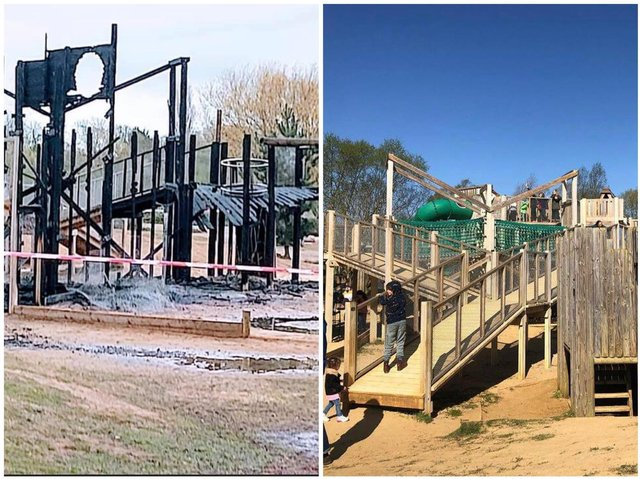 All that was left of the adventure playground after Saturday's fire at Stanwick Lakes