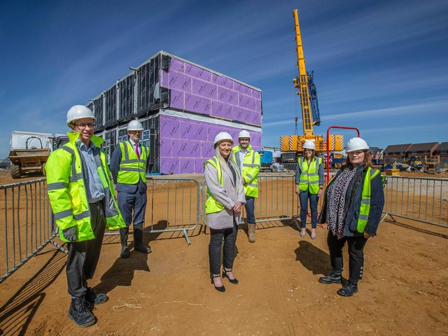 Ground-breaking ceremony for Buckton Fields Primary School. (L-R) Preston Hedges Academy Trust tech advisor Simon Shipp, chief executive Paul Watson, principal Hannah Rogers, contracts manager Liam Chapman, executive principal Caroline Stewart and Department for Education project manager Vicky Wibberley