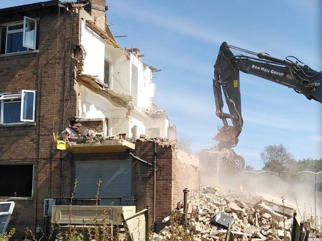 Work is underway to demolish seven blocks of flats. Photo: NPH