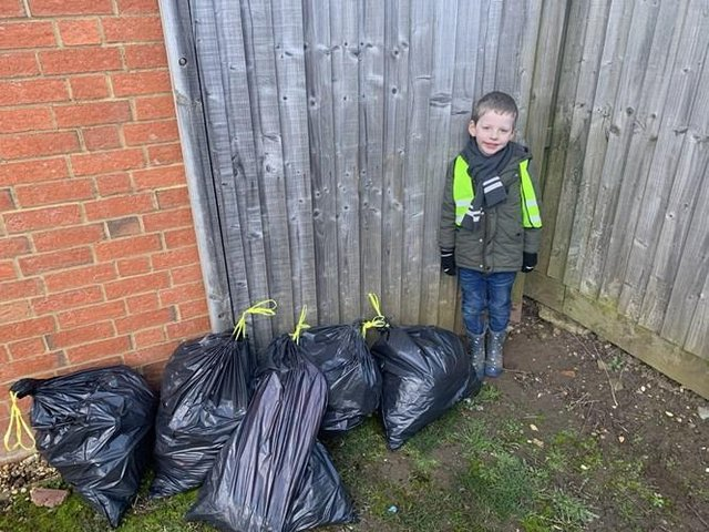 Joseph Dooley with his first litter picking haul.