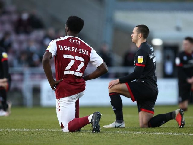 Cobblers have regularly taken the knee before games this season.