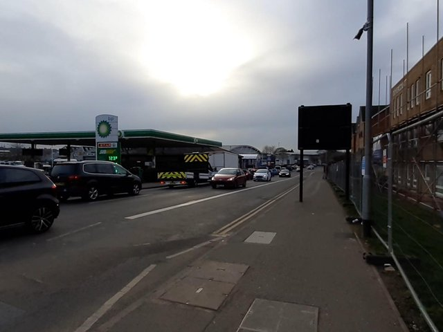 The bus lane camera (in the top right corner of the picture) on the A45 in Northampton, opposite West Bridge