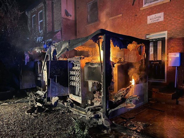 Thursday night's blaze destroyed two electricity substations next to flats in Semilong Photo: @NFRS