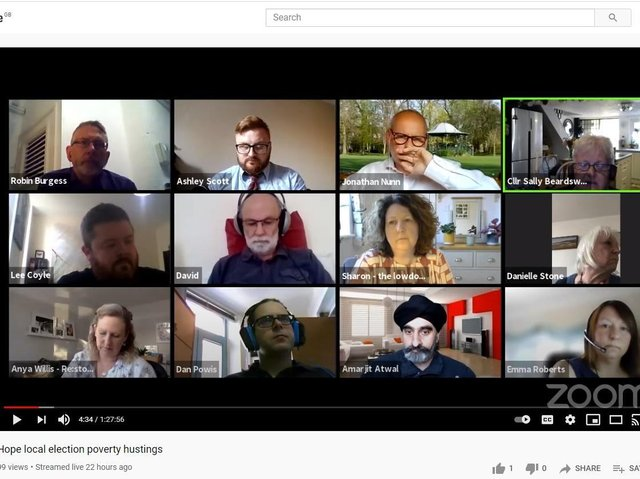 The hustings was streamed live on Youtube