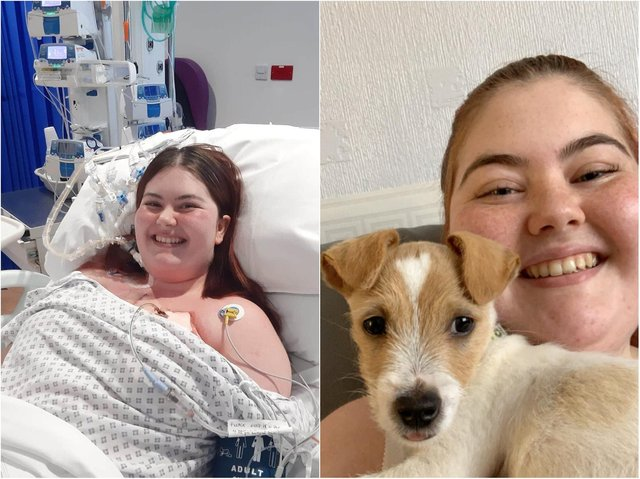 Hayley three days after her operation (left) and with her dog (right).