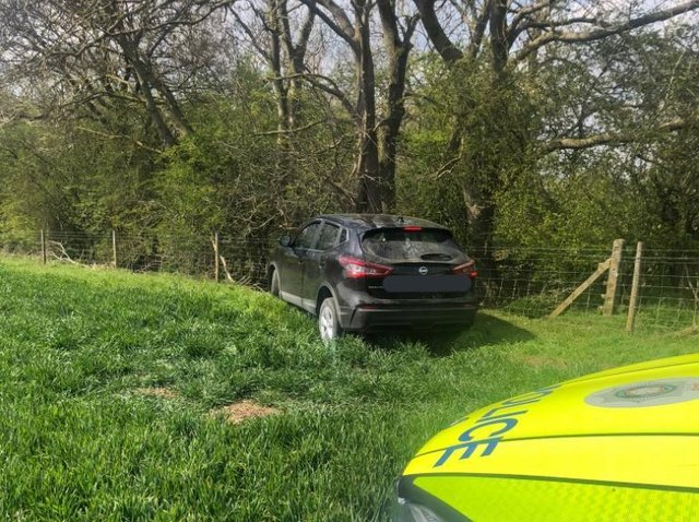 The stolen Nissan Qashqai on false plates went off road after being tracked by police.