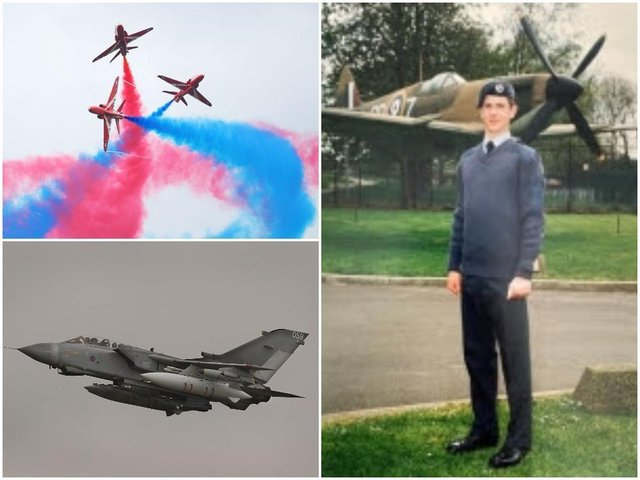 Mike Ling went from the RAF Air Cadets (right) to flying Tornados (bottom left) and in the Red Arrows in the RAF. Photos: RAF and Getty Images