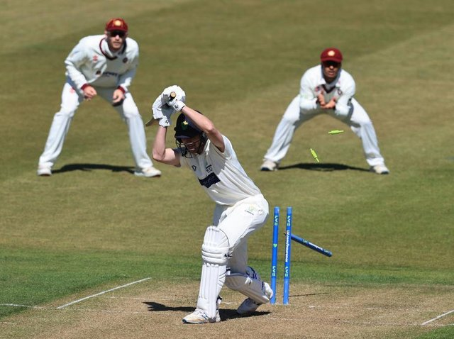 You didn't want to leave that... Nick Selman of Glamorgan is bowled by Gareth Berg