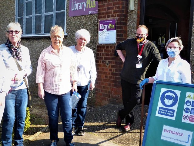 Some of the volunteers at the re-opening of Abington Library on Tuesday