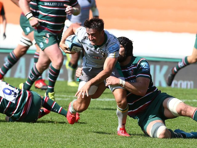 Alex Mitchell in action for Saints against Leicester at Welford Road back in September
