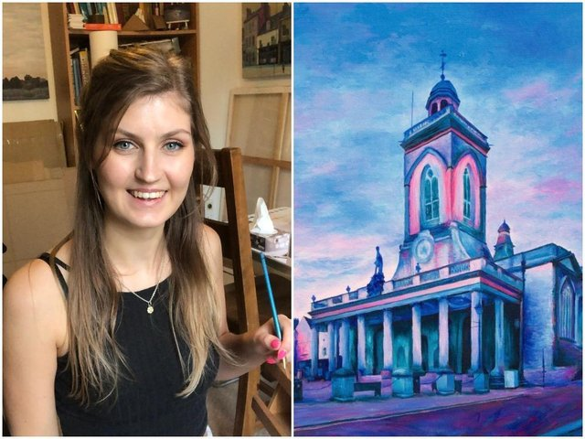 Sophie Slade has found success with her colourful paintings of Northampton town centre landmarks, such as All Saints Church