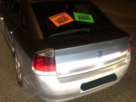 Police seized this uninsured car after a man was caught driving it without a licence.