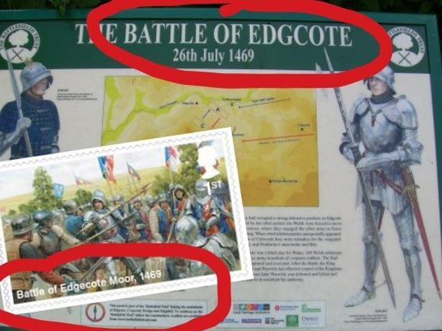 The name of the battle on Royal Mail's stamp differs from that at the Northamptonshire site