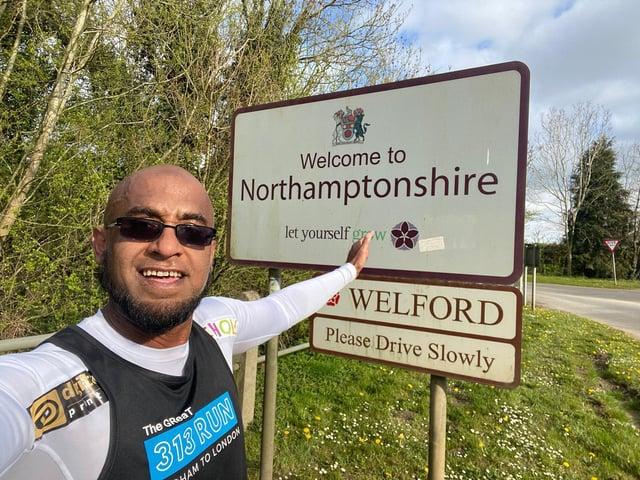 Afruz Miah is passing through Northampton on his huge running challenge.
