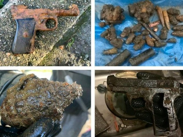 A selection of potentially dangerous objects magnet anglers have fished out of Northamptonshire's waterways
