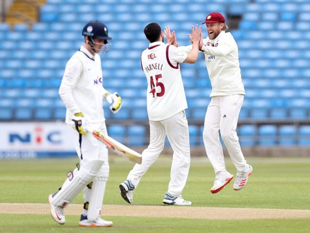 Wayne Parnell celebrates one of his five wickets in Yorkshire's second innings