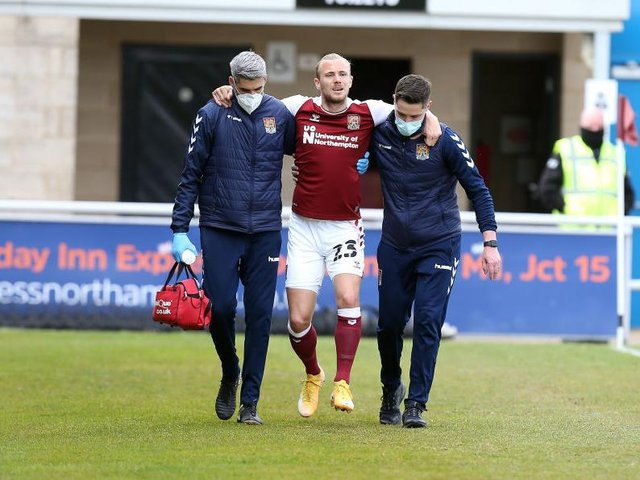 Joseph Mills couldn't put any weight on his ankle after suffering a painful injury in the early stages of Saturday's defeat to Blackpool. Picture: Pete Norton.
