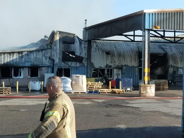 Fire crews at the blaze yesterday