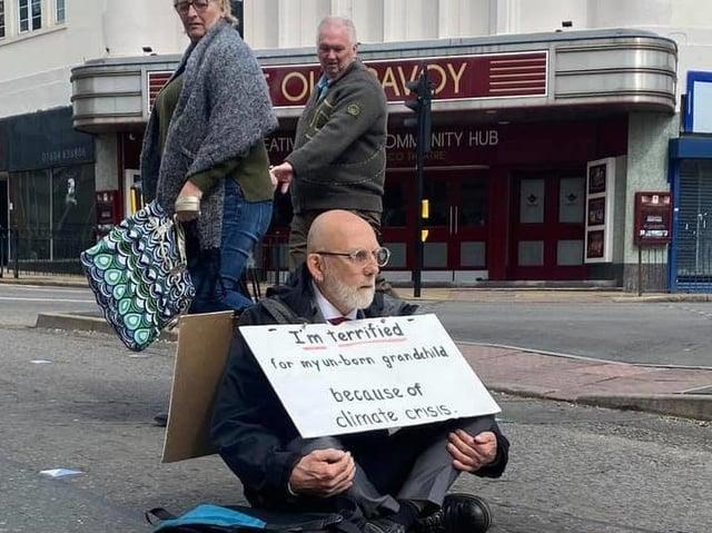 Ian sat on York Road at the traffic lights next to Abington Street on Saturday morning