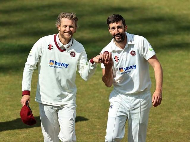 Gareth Berg (left and Ben Sanderson celebrate their five-wicket hauls