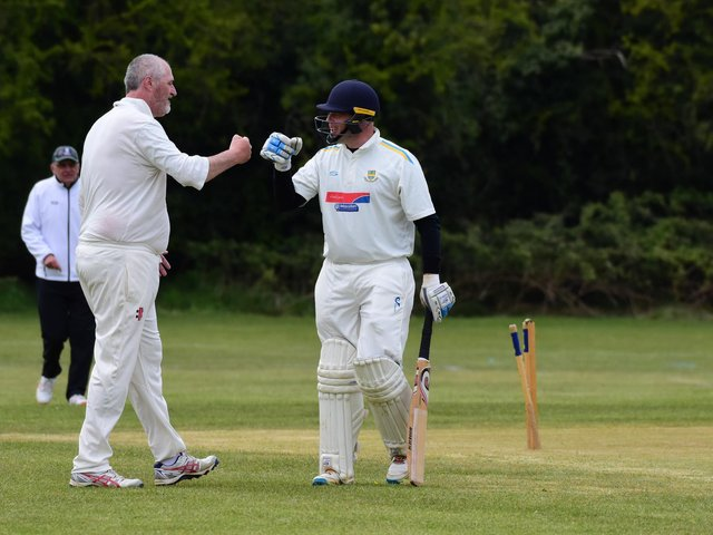 Cogenhoe IIs' Matt Irons sees the funny side after he is dismissed in his team's loss to Obelisk (Pictures: Jamie Brown)