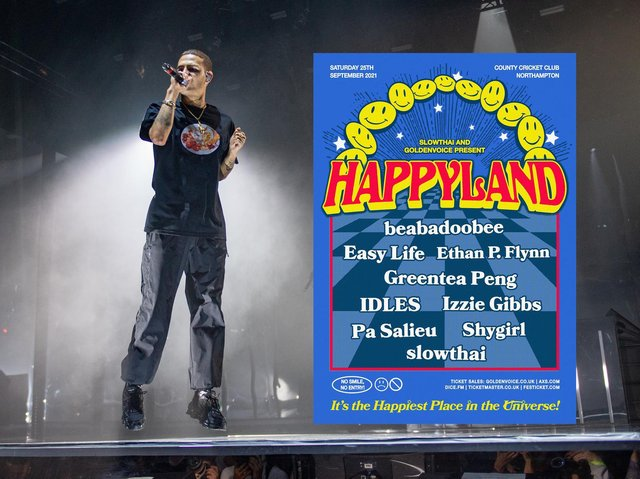 slowthai's Happyland festival will take place at Northamptonshire County Cricket Club.