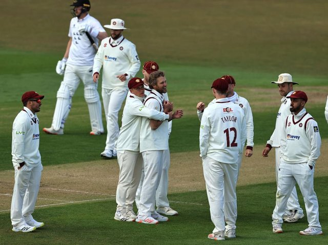 Gareth Berg is the centre of attention after claiming one of his nine wickets in the win over Sussex