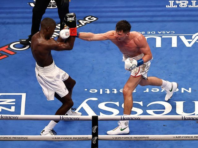 Kieron Conway on the attack in his defeat to Souleymane Cissokho