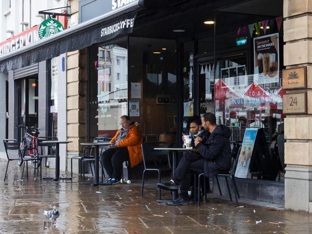 Hot drinks outside at Starbucks