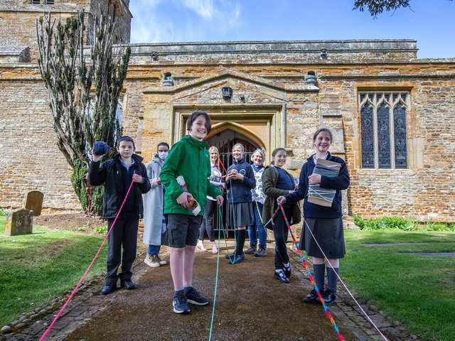 The children led their finger knitting to the village church. Photo: Kirsty Edmonds.
