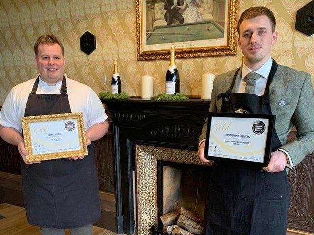 Head chef at Hibiscus, Samuel Squires, with general manager, Elliot Knight.