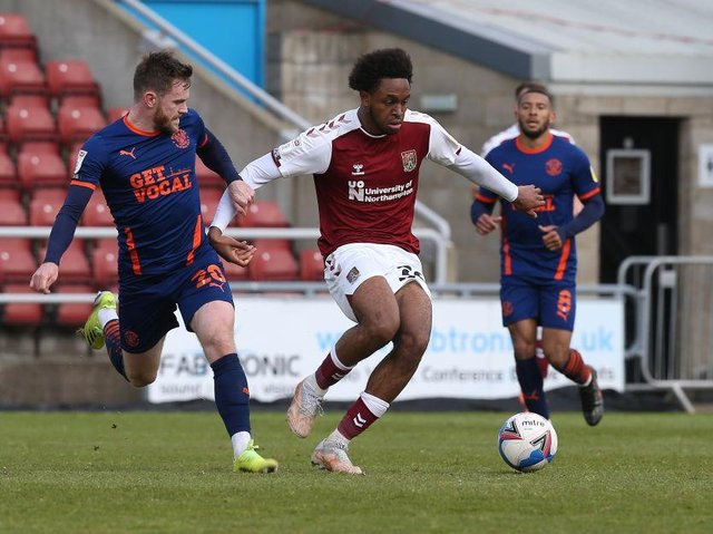 Caleb Chukwuemeka in action for the Cobblers