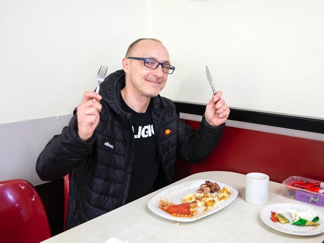 Chris Golding was excited to get back to Super Sausage for his favourite breakfast. Photo: Kirsty Edmonds.