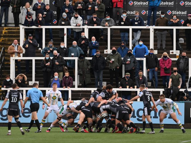 Newcastle Falcons fans watched their side see off Saints on Monday night