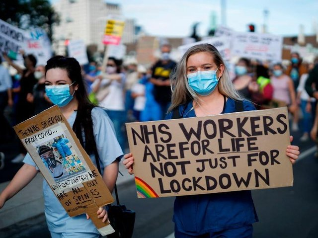 Health workers marched on Downing Street last July to make their case for a decent pay rise.