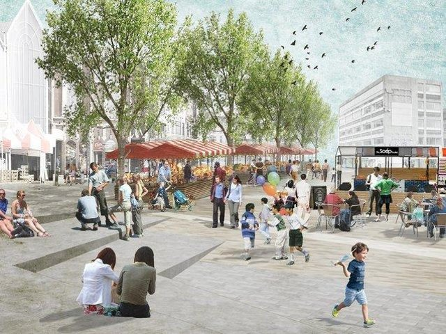 An artists' impression of the preferred option for the Market Square revamp. Photo: Northampton Forward