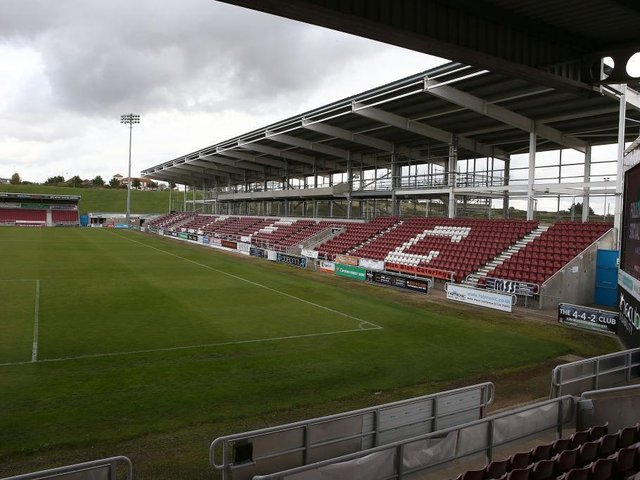 The East Stand at the PTS Academy Stadium.