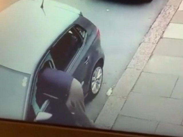 Footage of the man breaking into Wiktoria's car
