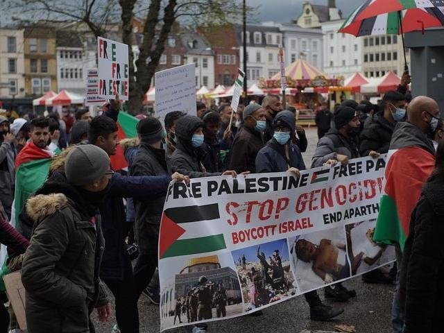 The 'March for Palestine' protest in Northampton town centre today.