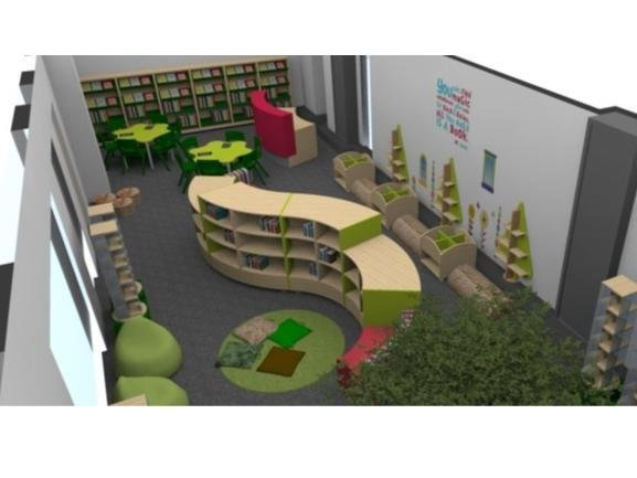 How the new primary phase library at Northampton International Academy will look, as created by designers Peters