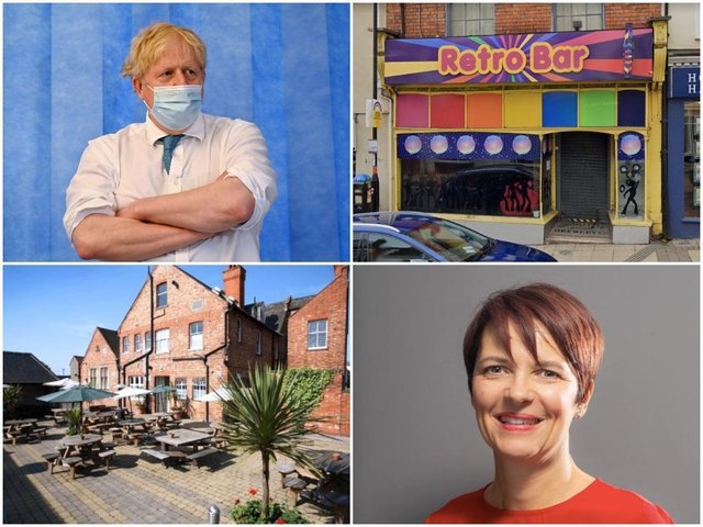 (Clockwise from top left): Prime Minister Boris Johnson on a trip to a hospital this week (Getty Images). Retro Bar on Bridge Street, Northampton (Google). Northampton Town Centre Business Improvement District co-chair Kerry Reynolds. The Old White Hart in Cotton End, Northampton